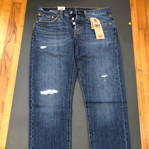 Levis 501 taper Jeans, Blue, 27W X 28L Button Fly.